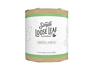 Simple Loose Leaf - Green Apple Green Tea - Premium Loose Leaf Green Tea (4 oz) - High Caffeine - Sweet and Fresh - USA Hand Packaged - 60 Cups