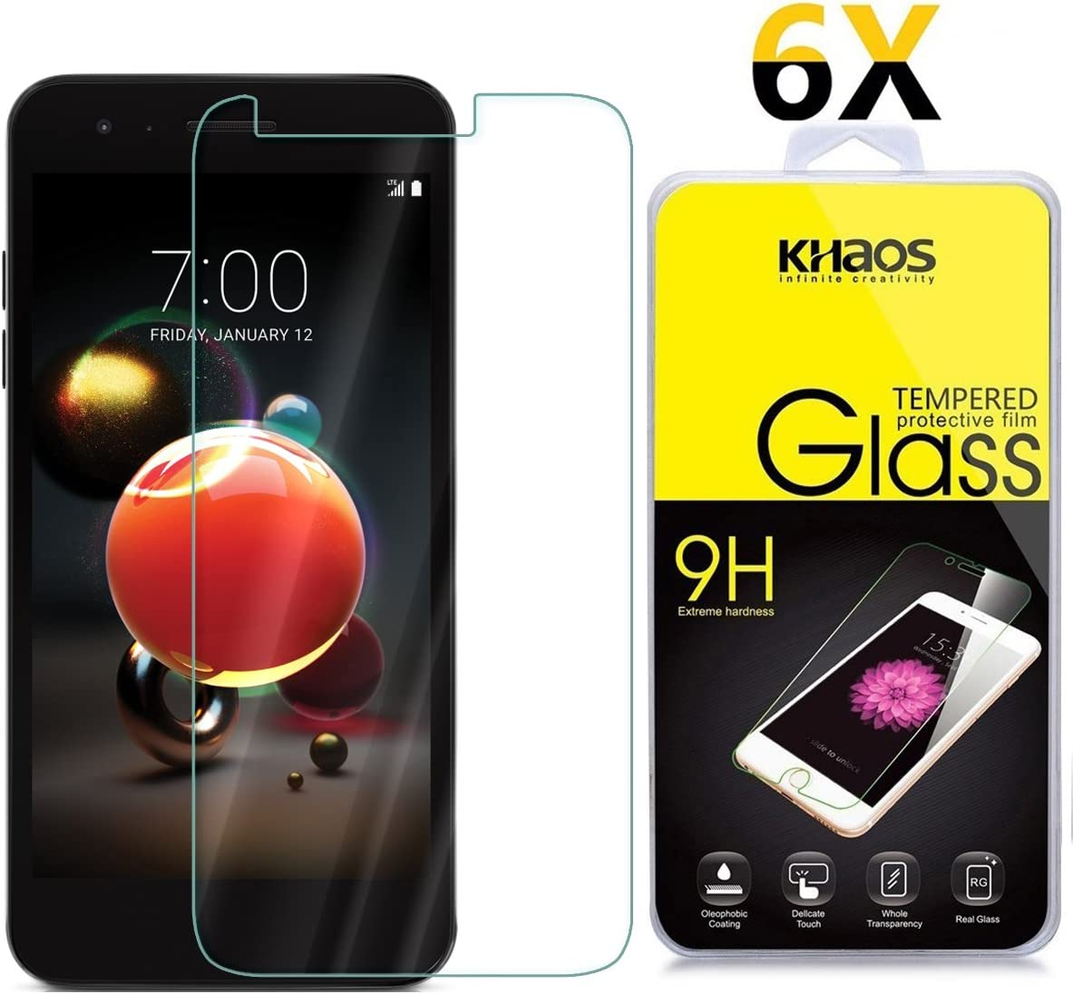[6 Pack] for LG Tribute Dynasty Screen Protector, KHAOS Tempered Glass Screen Protector Ultra Clear Scratch Resistant for LG Tribute Dynasty (SP200)