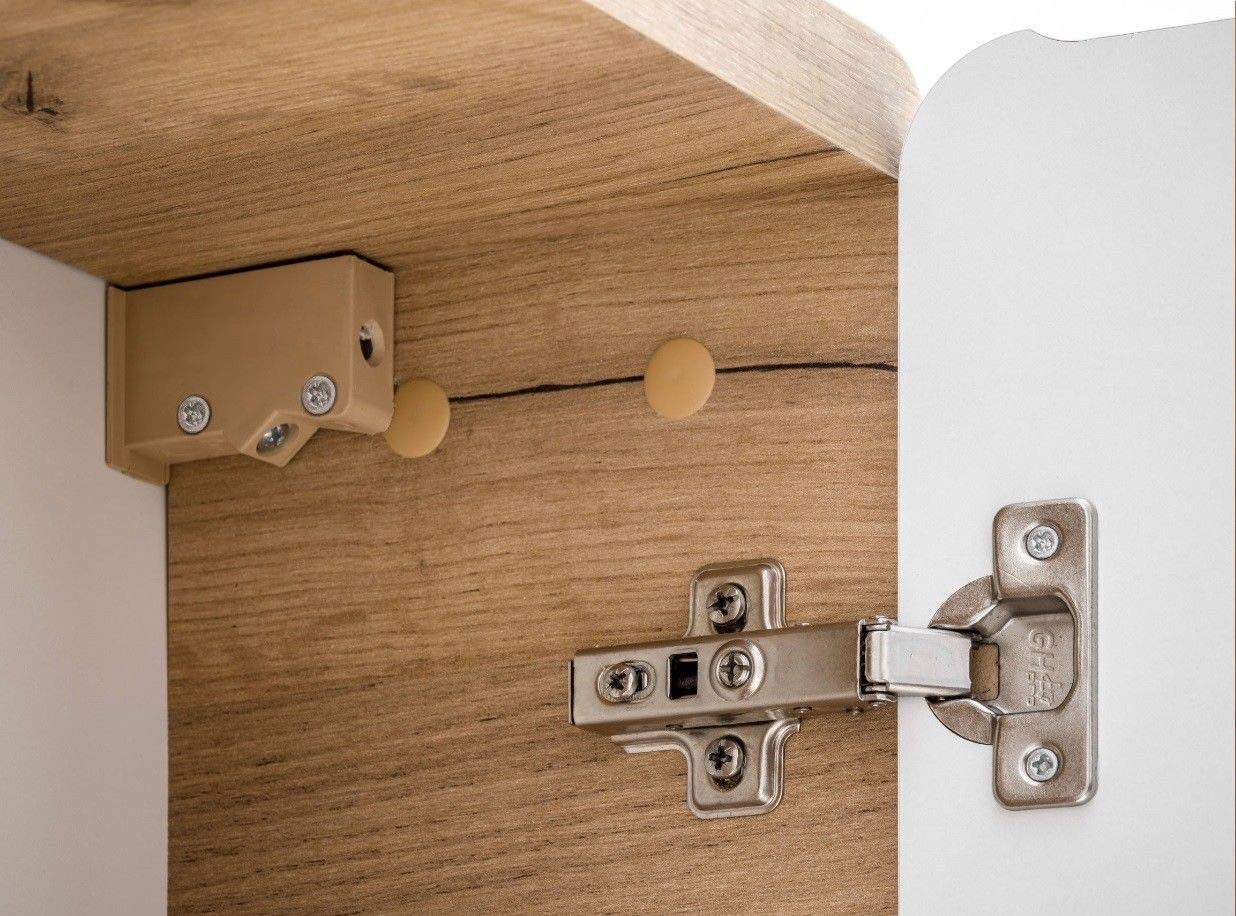 naka24 Badm/öbel Set Aruba-Weiss//Eiche 80 Badm/öbel Set mit Waschbecken Badm/öbelset LED komplettes Badm/öbel Set