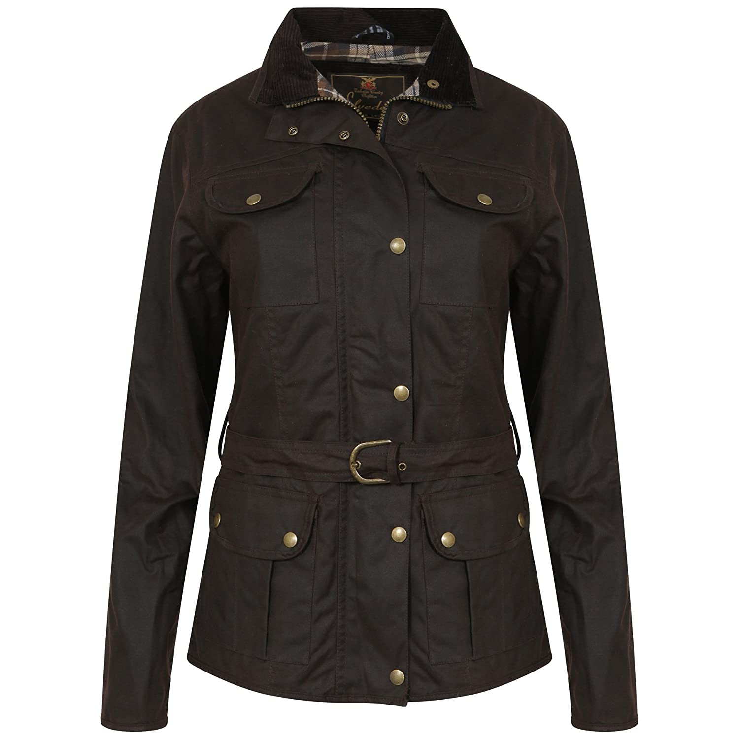 Haven Country Classics LADIES FITTED BROWN WAX WAXED JACKET WITH BELT WATERPROOF BRITISH MADE