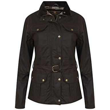 LADIES FITTED BROWN WAX WAXED JACKET WITH BELT WATERPROOF BRITISH ...