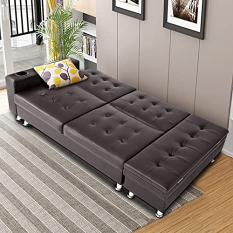Stupendous Bon Multifunctional Faux Leather Sofa Include Storage Box Ottoman Recliner Sofa Bed With Cup Holder Brown Camellatalisay Diy Chair Ideas Camellatalisaycom
