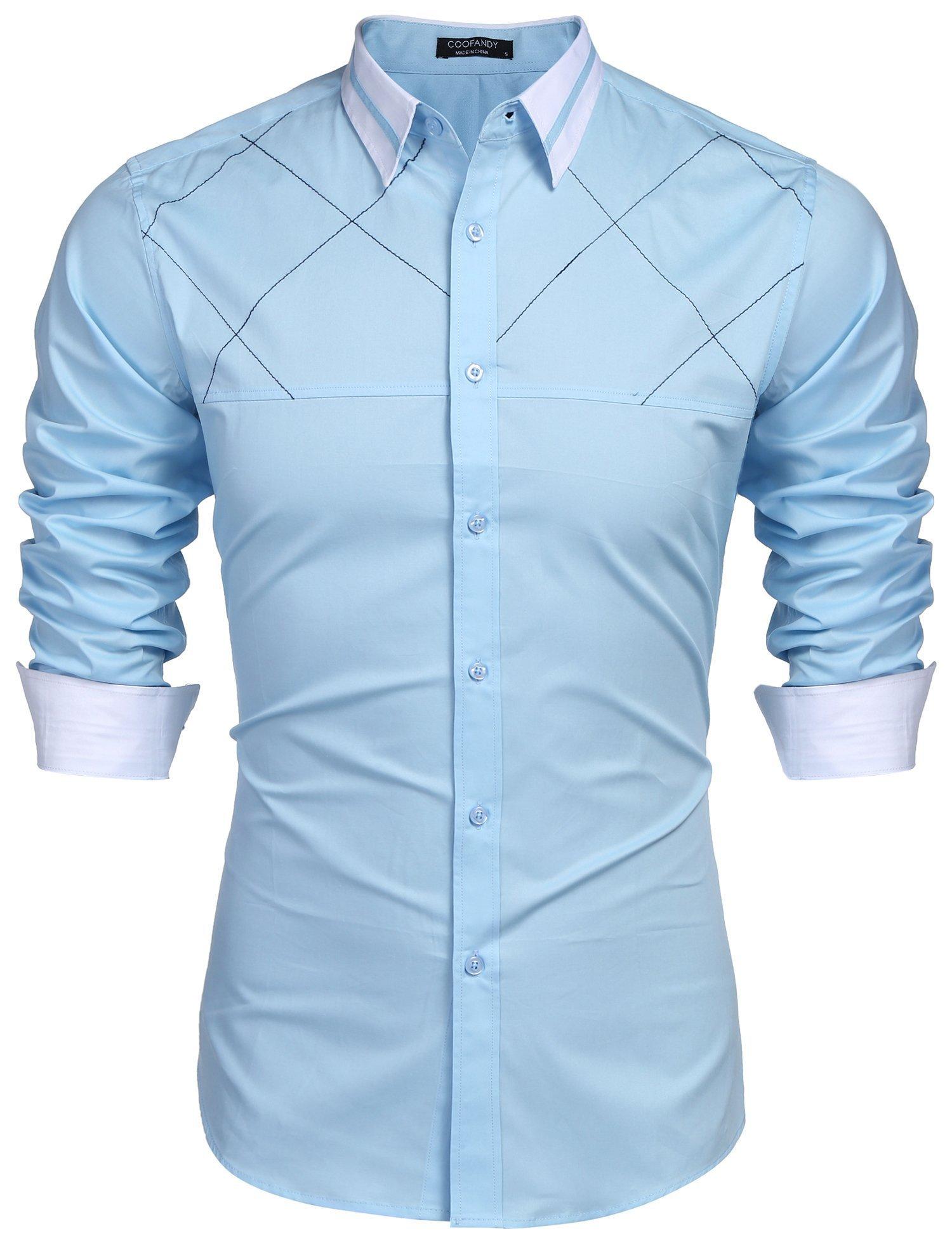 COOFANDY Men's Classic Slim Fit Dress Shirt Collar Neck Contrast Color Casual Button Down Shirts,Blue,Medium