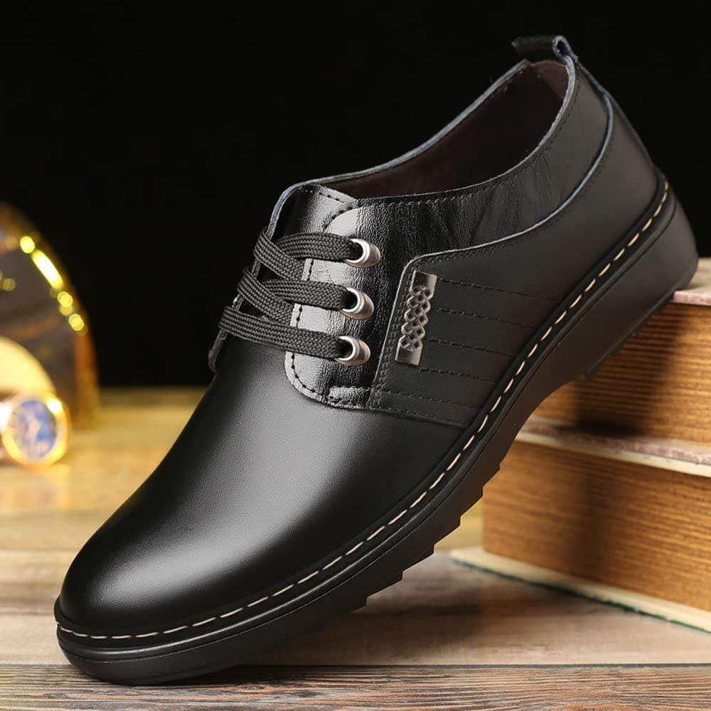 MUMUWU Mens Casual Business Shoes Matte Genuine Leather Upper Lace Up Breathable Lined Oxfords Dress Shoes