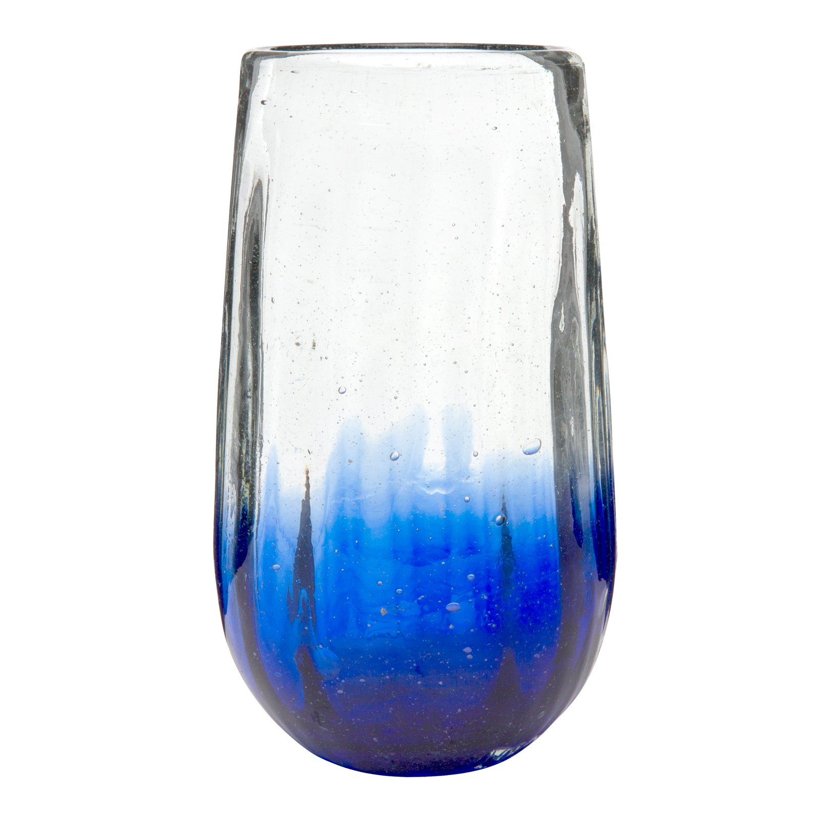 Amici Home, 7MCR068S6R, Rosa Hiball Drinking Glass, Translucent Cobalt Ombre, Recycled Handblown Artisanal Mexican Tabletop Glassware, 20 Ounce Capacity, Set of 6