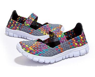 a618634cae1b MAKEGSI Handmade Women Running Shoes Walk Women s Slipon Woven Stretch Mesh  (6