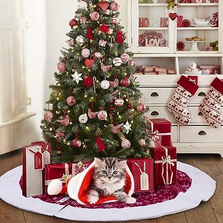 Aerwo 48inch White Snowflake Christmas Tree Skirt Red Xmas Tree Skirt Base Cover For Christmas Holiday Decorations