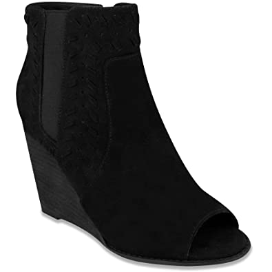 ANNICA Microsuede Peep Toe Dress Bootie Black