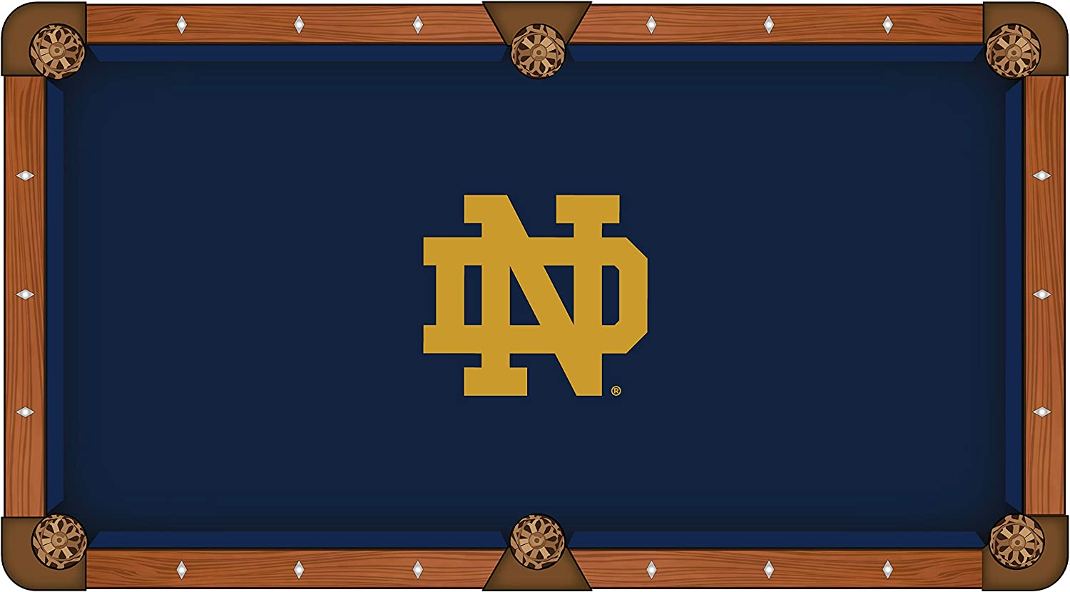 Holland Leiste Stool Co. Notre Dame Fighting Irish Navy mit Tan Nd Logo Billiard Pool Table Cloth