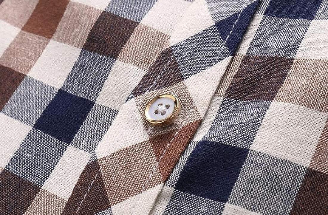 Domple Mens Button Down Plaid Print Casual Short Sleeve Slim Fit Dress Shirts