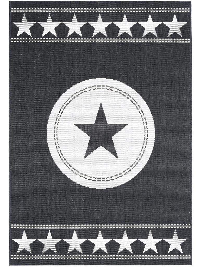 Benuta In- & Outdoor Teppich Essenza Star Schwarz 160x230 cm   Pflegeleichter Teppich geeignet für Innen- und Außenbreich, Balkon und Terrasse