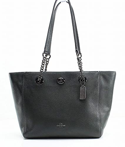 d844517e2d02 Amazon.com  COACH Women s Pebbled Turnlock Chain Tote 27 Dk Ivy One ...