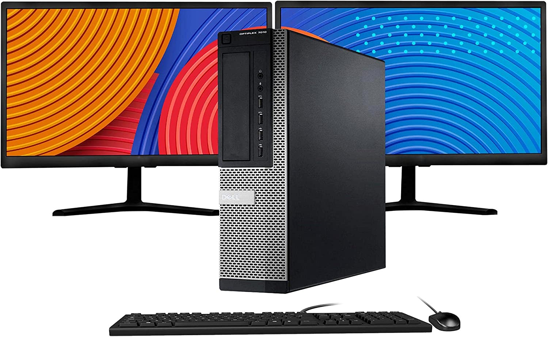 Dell Optiplex 7010 Desktop PC Computer Package, Intel Quad Core i5 3.20GHz, 8GB RAM, 256GB SSD + 1TB HDD, Dual 20Inch LCD (HDMI), Keyboard, Mouse, USB WiFi, 2X DP, Windows 10 Professional(Renewed)