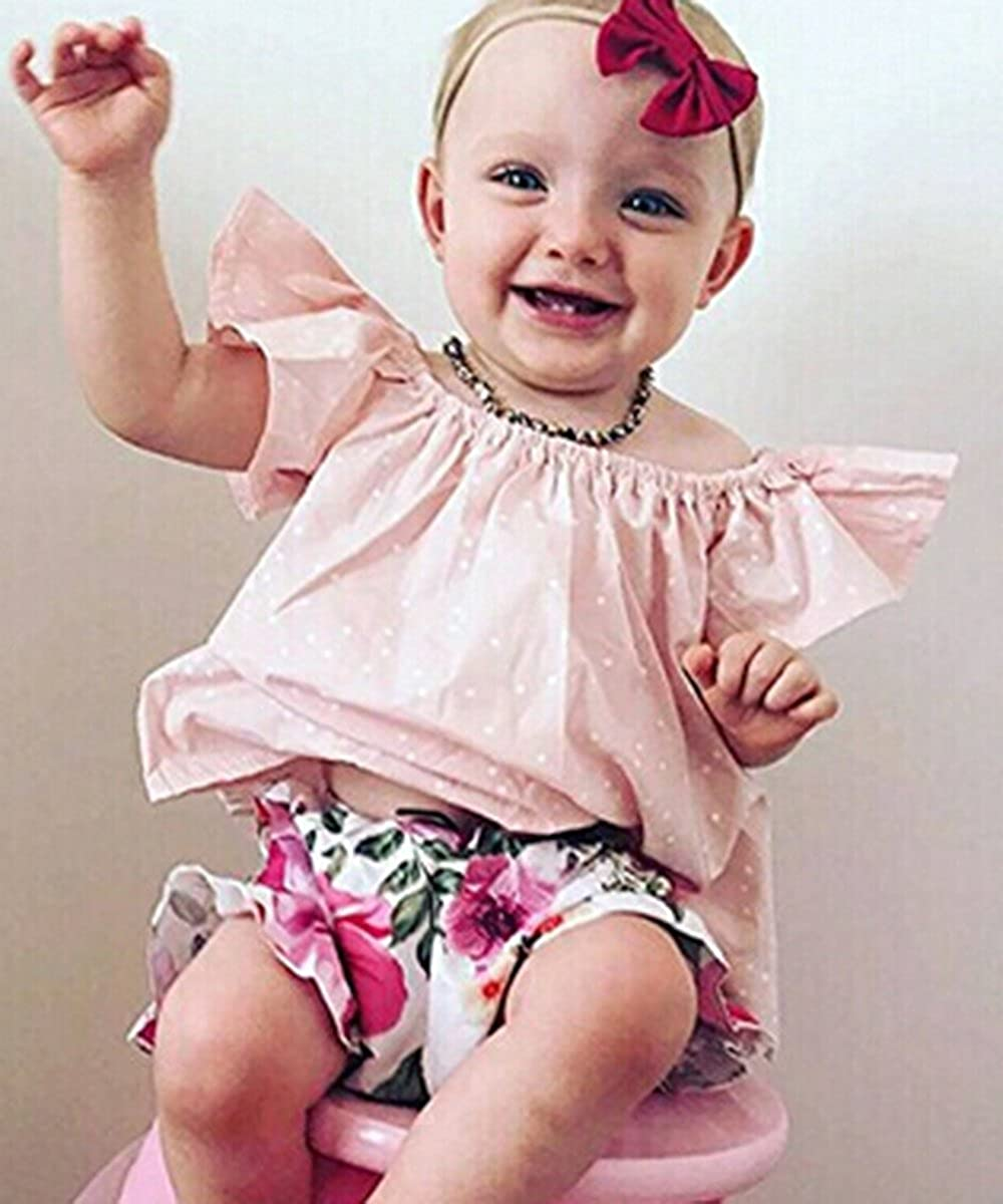 Gogoboi 2pcs Cute Flower Outfit Set T-Shirts+Shorts Suit Summer Clothes For Baby Girl 0-24M
