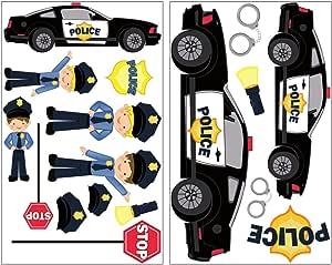 Policía de 17 piezas Juego de adhesivo coche Policía pared pared pegatinas, 2x 16x26cm: Amazon.es: Hogar
