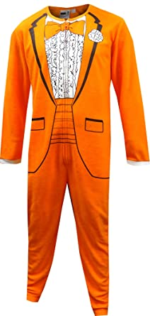 1970's Orange Tuxedo Onesie Pajama for men (X-Large)