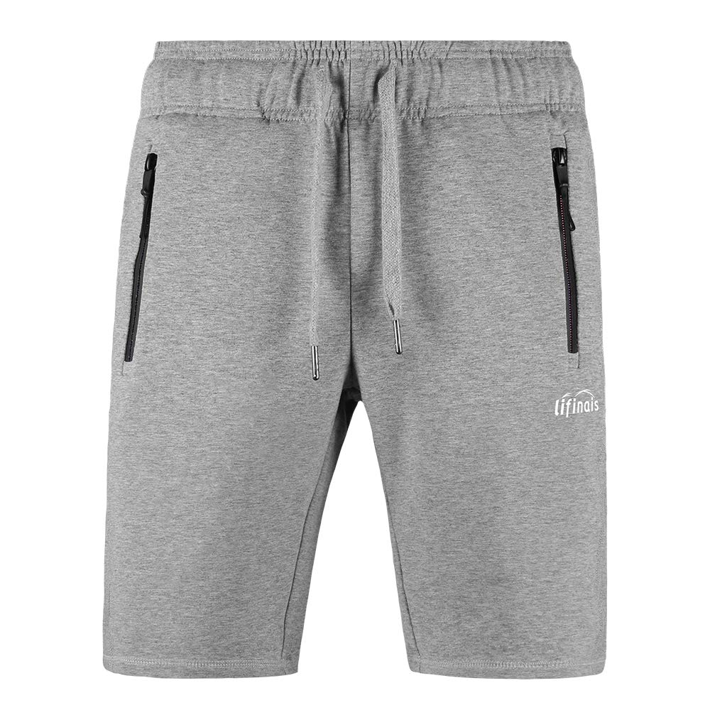 LIFINAIS Men's Athletic Shorts with Pockets Gym Running Workout Shorts Active Training Shorts Casual Shorts Zipper Pockets (Large, Grey) by LIFINAIS