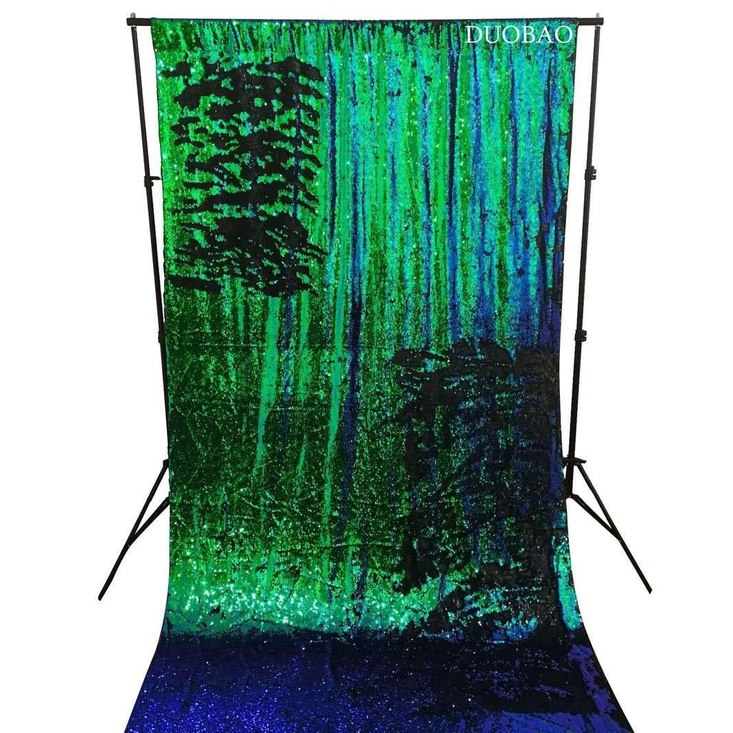DUOBAO Sequin Backdrop 8Ft Green to Black Mermaid Sequin Backdrop Fabric 6FTx8FT Two Tone Sequin Curtains by DUOBAO