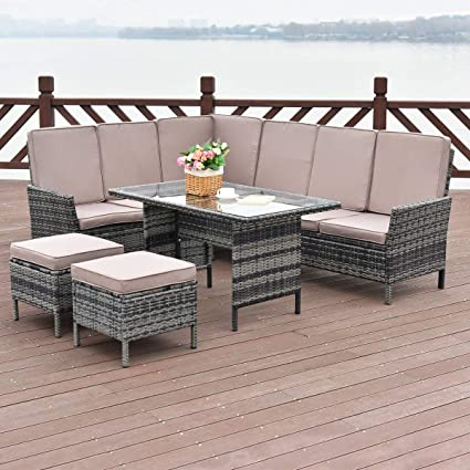 Tangkula 5 Pieces Patio Furniture Set Wicker Rattan Steel Frame Patio  Outdoor Garden Conversation Set High Back Sectional Sofa Set with Tempered  Glass ...