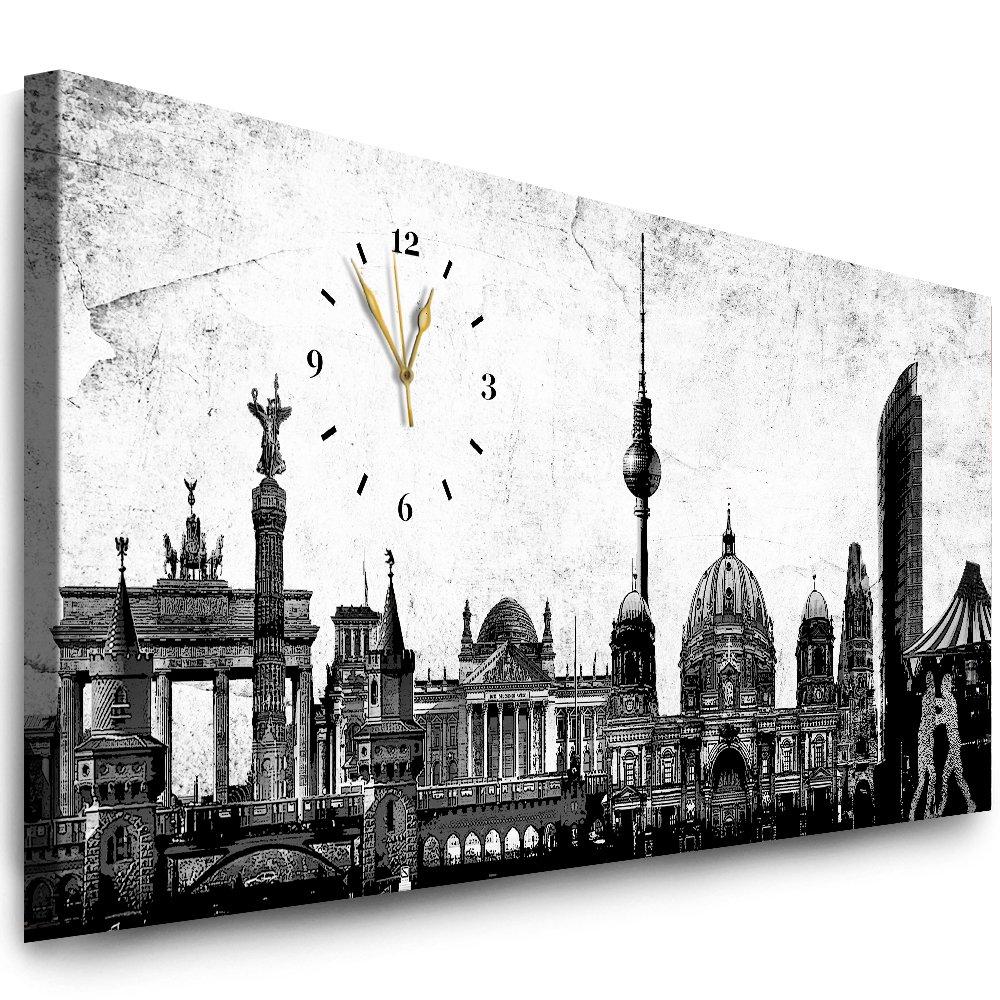 Julia-Art Bilder - Berlin Leinwandbild - 120 x 50 cm Wandbild mit Uhr - Wanduhr Geräuschlos - Küchenuhr Kunstdruck xxl Panorama - Fertigbild sofort aufhängbar Wu-12a-5