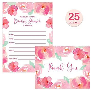 Set Pink Bridal Shower Invitations Floral Watercolor Blooms & Matching Thank You Cards with Envelopes (
