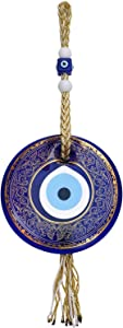 Ekayist Turkish Blue Evil Eye Wall Hanging Ornament Gold Pattern and Rope - Home Decor Protection - Nazar Boncuk Amulet and Home Blessing Charm - Wall Art Talisman and Good Luck
