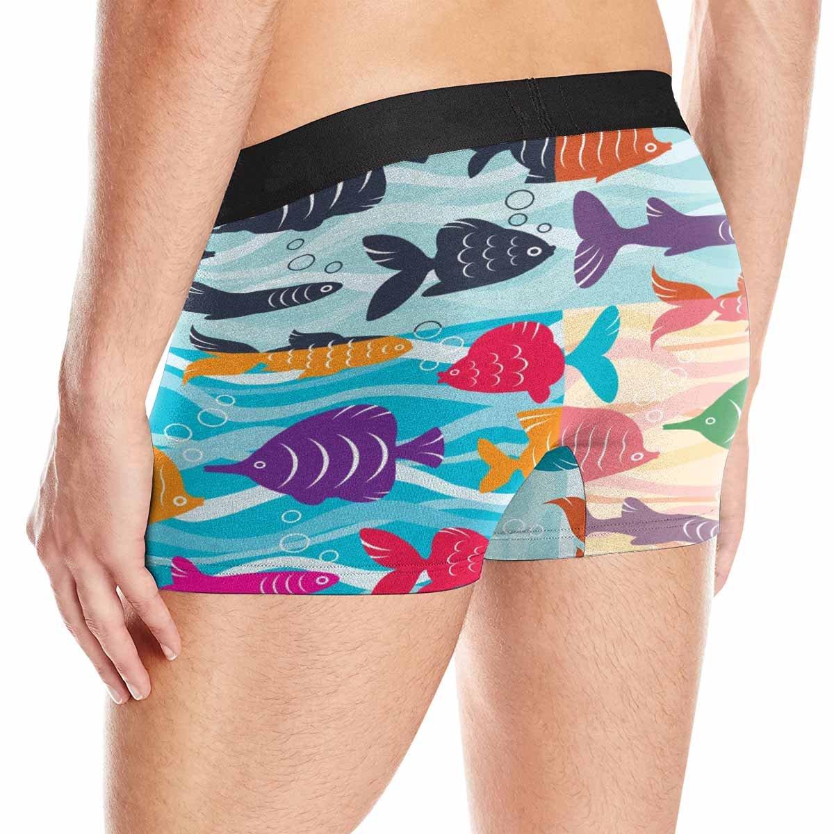 INTERESTPRINT Boxer Briefs Mens Underwear Colorful Bright Fish Stock XS-3XL