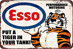 "Mega-deal Esso Put a Tiger in Your Tank, Metal Tin Sign, Wall Decorative Garage Sign 12"" x 8"""