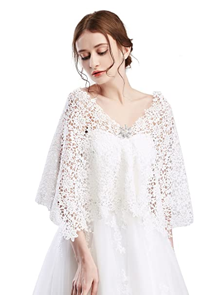 FXmimior Bridal and Bridesmaid Womens Wraps Cape Lace Shawl for Wedding Party Evening: Amazon.co.uk: Beauty