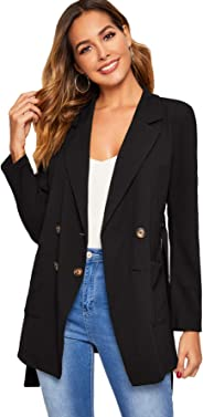 Verdusa Women's Lapel Long Sleeve Button Up Pocketed Belted Wrap Blazer