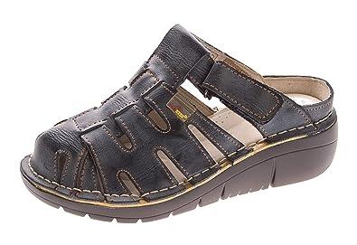 TMA Damen Leder Clogs Comfort Schuhe Echt Leder Sandalen Slipper Pantoletten 8891 Weiß-Creme Gr. 39 n50Z1x2WLW