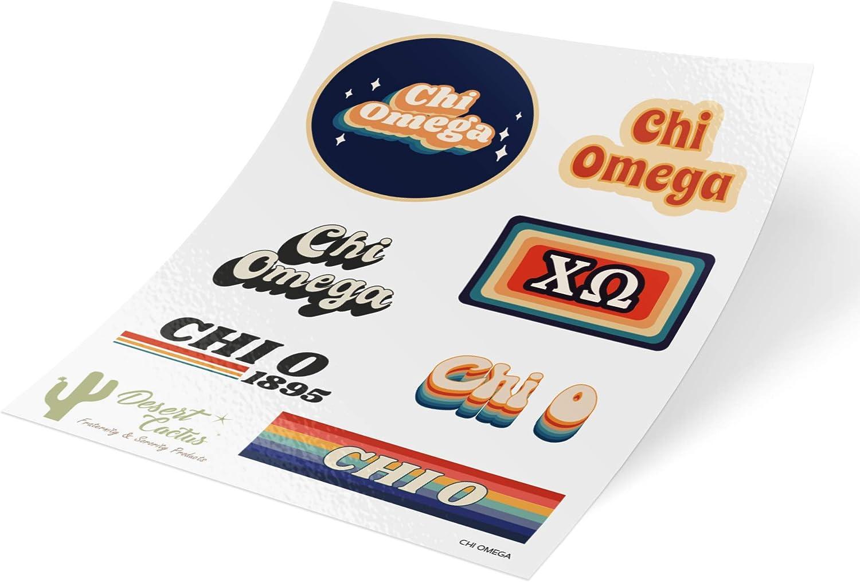 Chi Omega 70's Themed Sticker Sheet Decal Laptop Water Bottle Car (70's Sheet)