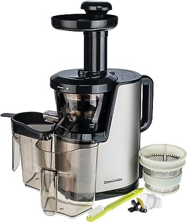 Der OmniJuice Slow Juicer Saftpresse Entsafter mit nur schonenden 43 Umin (maximale Saftausbeute, maximale Vitamine) Silber
