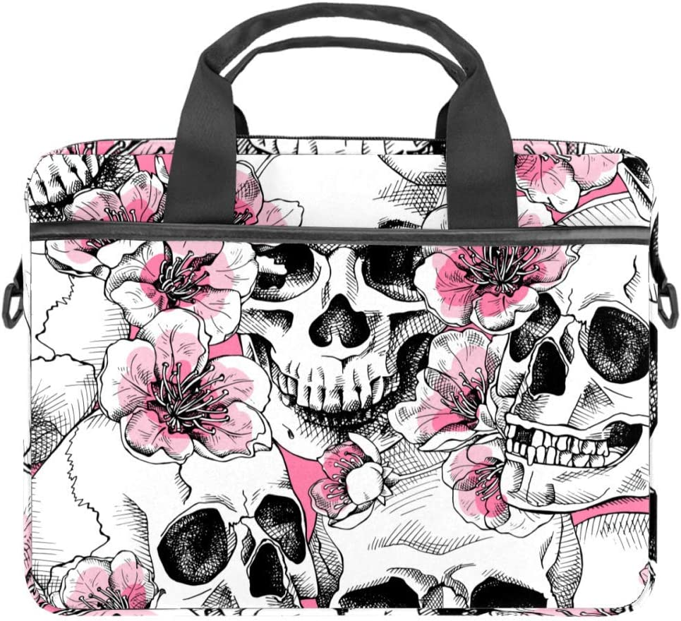 Skull and with Flowers Laptop Bag Messenger Bag Slim Briefcase with Crossbody Shoulder Bag Computer Bag Computer and Tablet Carrying Case for 13.4-14.5In