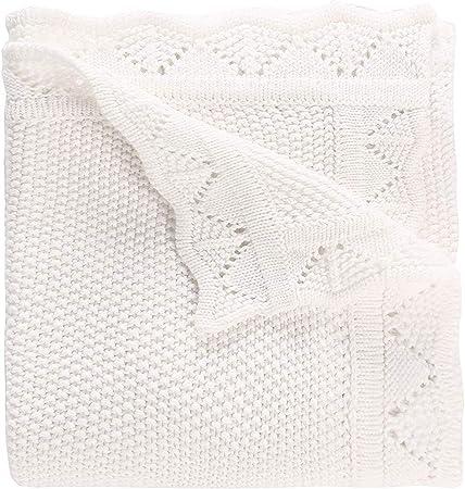 LAT Manta para bebé 76 x 102 cm-Manta de punto,Colcha de punto,100% algodón y trenzado para bebé(Blanco): Amazon.es: Bebé