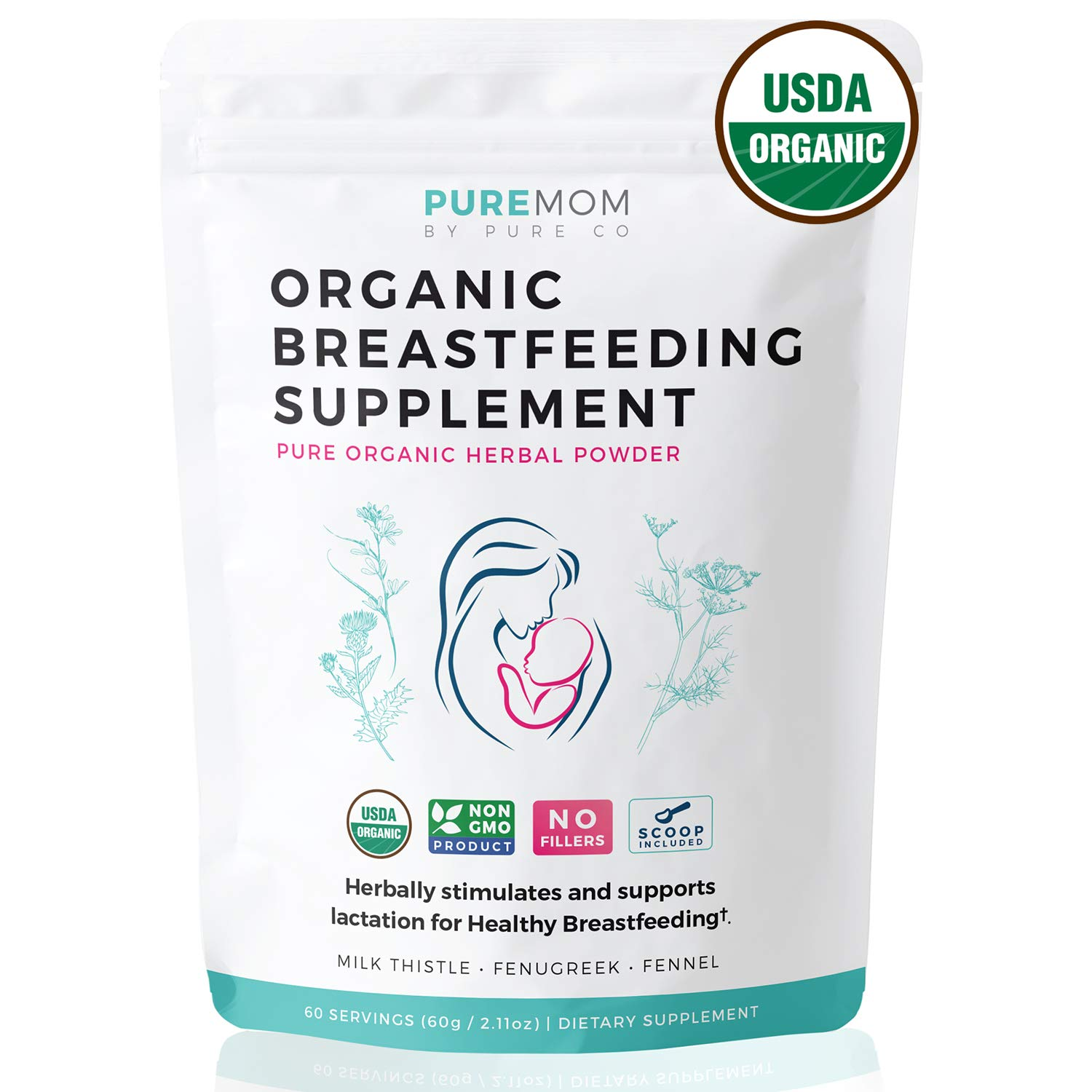 USDA Organic Breastfeeding Supplement (Powder) Increase Milk Supply & Herbal Lactation Support - No Fillers - Aid for Mothers - Non-GMO - Fenugreek Seed, Milk Thistle & Fennel Seed | 60 Grams