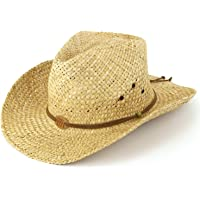 f23af9d21a0 Straw cowboy hat with leather band detail and three horses badge. Natural