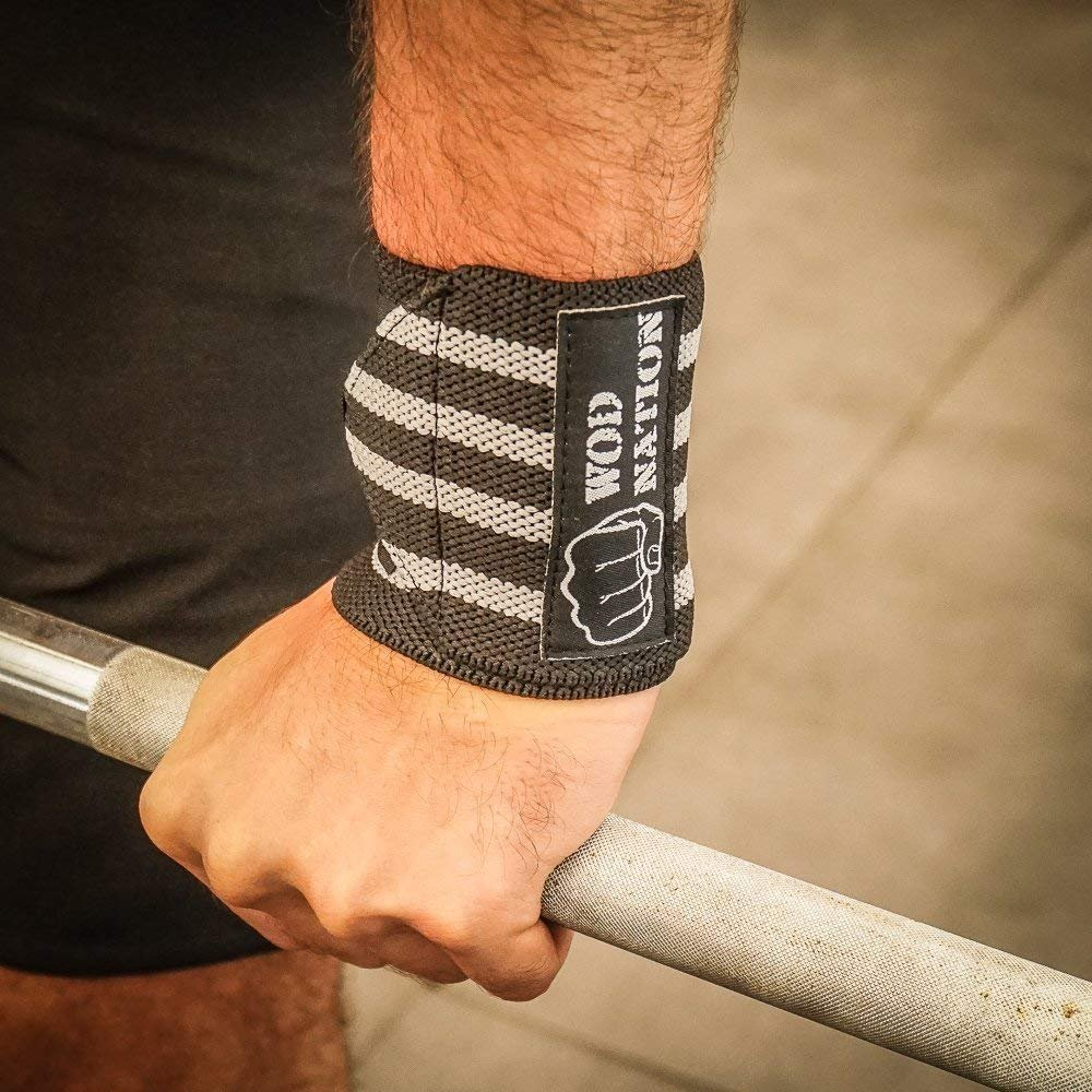 WOD Nation Wrist Wraps by Wrist Support Straps (12'', 18'' or 24'') - Fits Both Men & Women - Strength Training, Weightlifting, Powerlifting - Lift Heavier Weight (18 Inch - Black/Grey) by WOD Nation (Image #10)