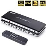 Univivi 7 Port HDMI Switch version2.0 4K@60Hz HDMI Switcher Support HDR & HDCP 2.2,Full HD/3D with IR Wireless Remote…