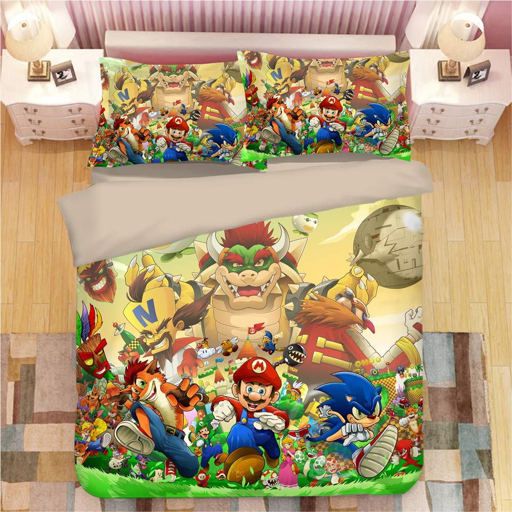 EVDAY Sonic The Hedgehog Game Duvet Cover Set for Kids Cute 3D Cartoon Printed Bed Set Super Soft Microfiber Boys Bedding 3Piece Including 1Duvet Cover,2Pillowcases Twin Size
