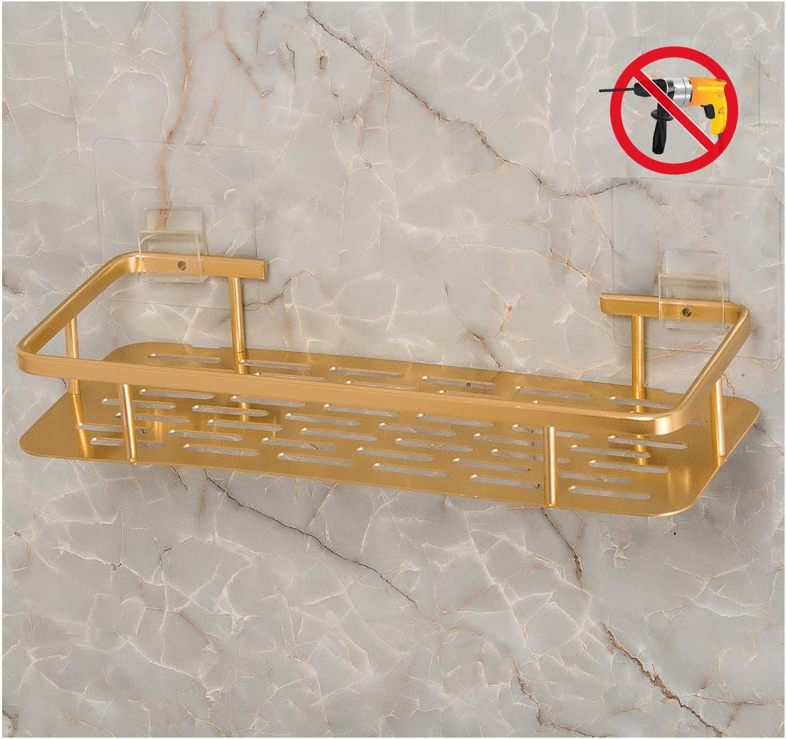 Bearstar Rectangle Aluminum Bathroom Shower Shelf No Drilling Polished Golden