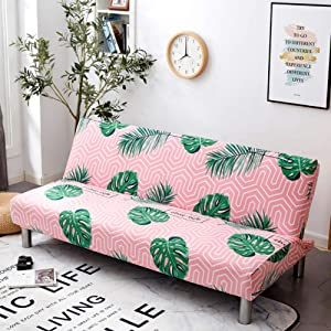 SAsagi Printed Elastic Sofa Cover,Anti-Skid Durable Dust-Proof Sofa Slipcover Easy Install Furniture Cover Living Room Pet Children Furniture Protector-18 39-57 Inches