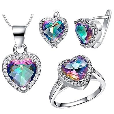 Uloveido Heart Shaped Rainbow Mystic Topaz Bridal Jewelry Set Ring Earring and Necklace Love Set T481 QaSYjjKbYw