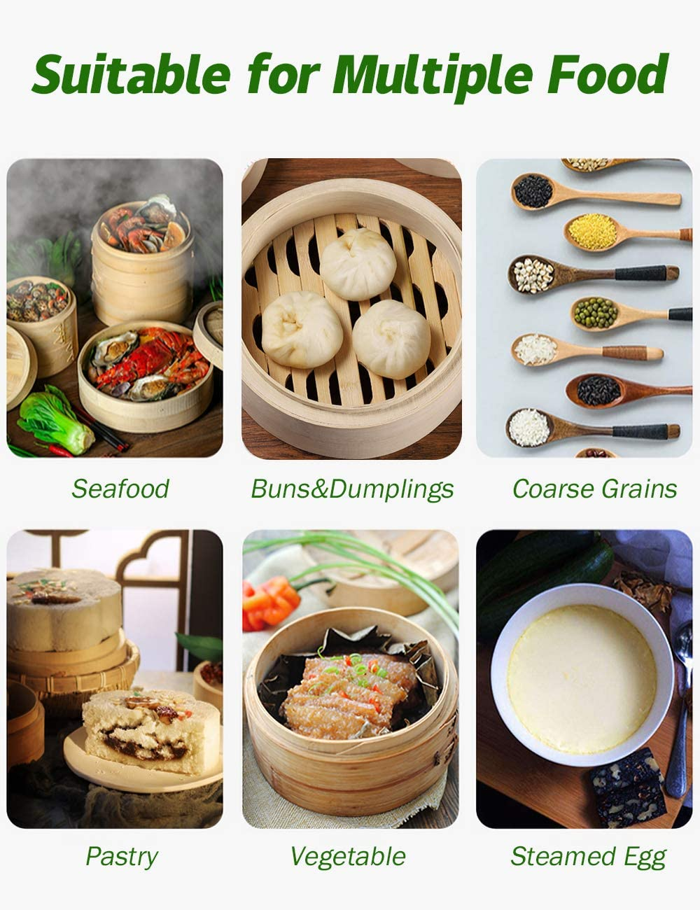 Asian Steamer Baskets for Cooking Perfect for Japanese /& Chinese Cuisine Includes 10 Reusable Cotton Steamer Liners 10 Inch Handmade Natural Bamboo Dumpling Steamer 2 Tires Basket with Lid