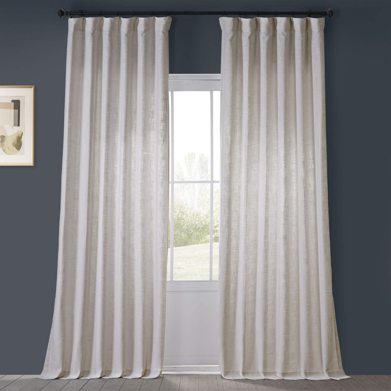 HPD Half Price Drapes FHLCH-VET13191-108 Heavy Faux Linen Curtain (1 Panel), 50 X 108, Rice White
