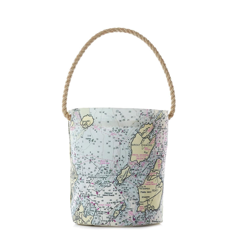 Casco Bay Nautical Chart Bucket Bag