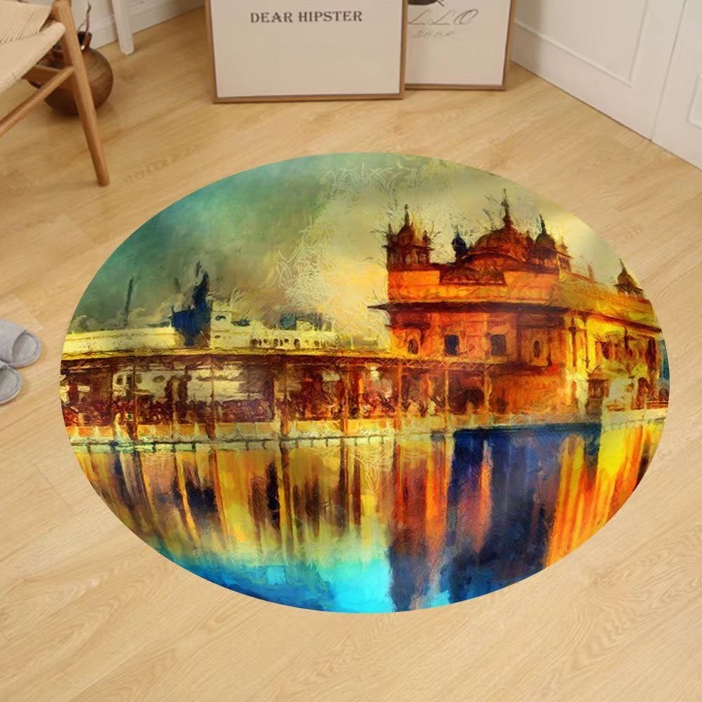 Gzhihine Custom round floor mat Golden Temple at Amritsar India - Oil Painting by Gzhihine (Image #1)