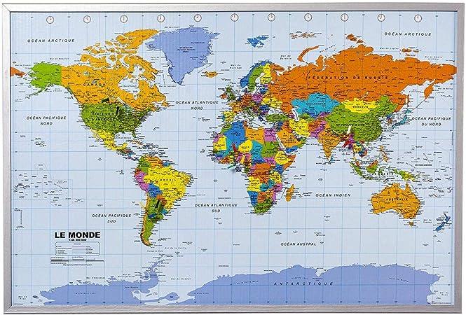 Mapa del mundo de la pared XXL - incluyendo 12 banderas de marcador - corcho - 90 x 60 cm - Mapa del mundo, Francés: Amazon.es: Hogar