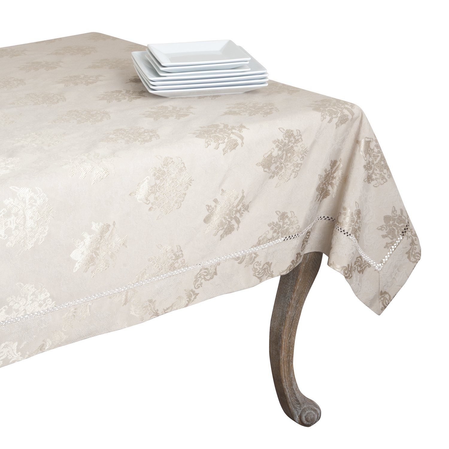 SARO LIFESTYLE DM871 Paloma Oblong Tablecloth, 70-Inch by 120-Inch, Taupe