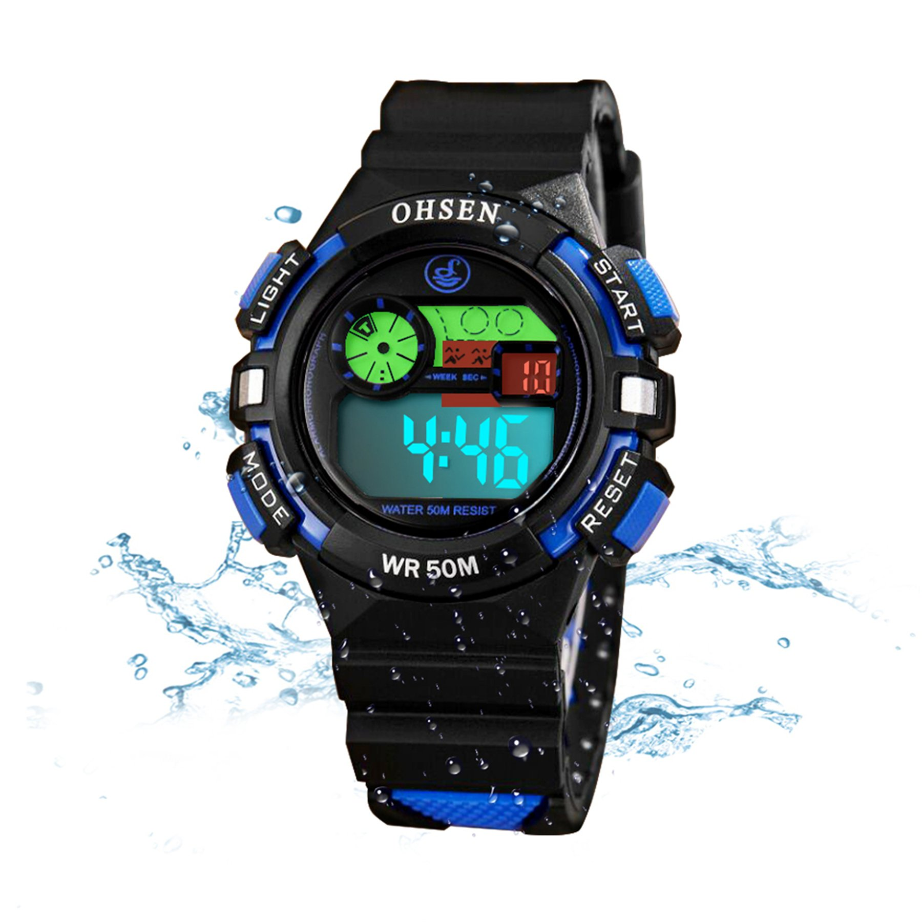 Kids Watches Outdoor Sports Children Watch Stopwatch Quartz Watch Boy Girls LED Wristwatch Green by Wdnba